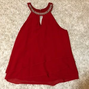 Socialite Red Bejeweled Tank, Size Small